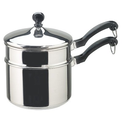 Classic 2 Qt. Stainless steel Round shape Double Boiler with Lid