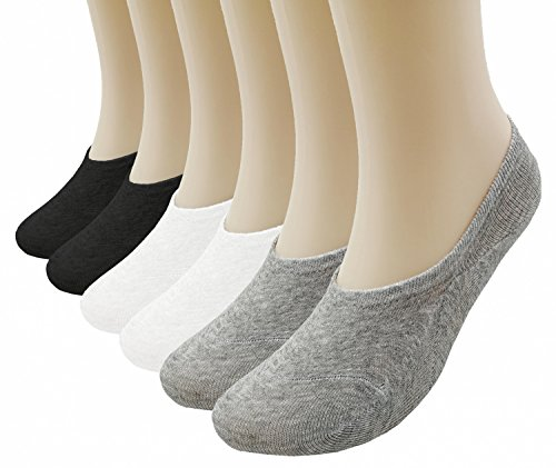 Prefer Green Women's 6 Pairs Thin Casual No Show Socks Anti-Slip Cotton Sock (Black + White + Grey (6 Pairs))