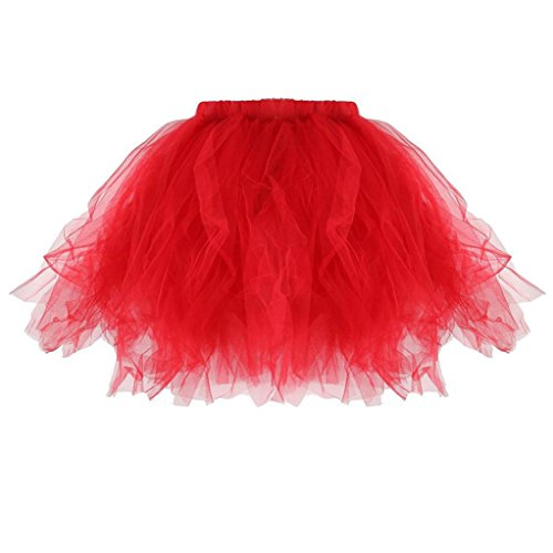 AmyDong Ladies Dress Cute Baby Girls Kids Pleated Tutu Ballet Skirts Fancy Party Skirt Adult Tutu Skirt Pleated Mini Skirts (Kids, Red) ()