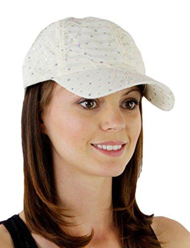Glitzy Game Sequin Trim Baseball Cap for Ladies, Ivory