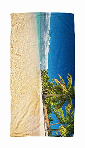 EMMTEEY Bath and Beach Towel,Panoramic Ocean Palm Tree Trees on The Tropical Beach Republic Dominican 30x60Inch Microfiber Oversized Large Quick Dry Swimming Pool Towel,Brown Black