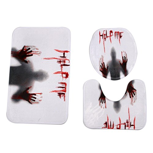 2017 Halloween Decorations,Elevin(TM)3PC/Set Happy Halloween HotStyle Pedestal Rug + Lid Toilet Cover + Bathroom Bath Mat (Halloween Metal Party 2017)