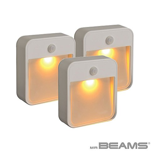 ep Friendly Battery-Powered Motion-Sensing LED Stick-Anywhere Nightlight with Amber Color Light (3-Pack), White ()