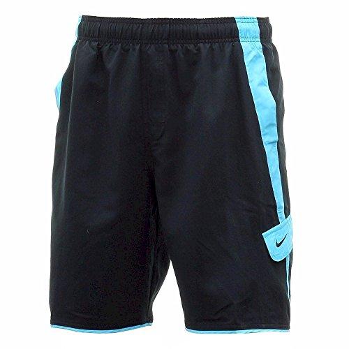 Nike Men's Side Pocket Contrasting Black Swim Trunk Volley Shorts Swimwear Sz: M