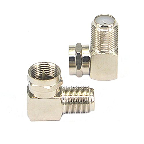 onelinkmore F Type Right Angle Male to Female RF Connector 90 Degree Coax Adapter 2 Pack 90 Degree Elbow Type