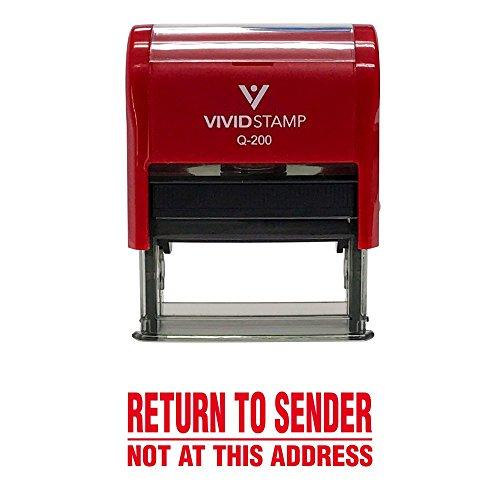 Medium Address Stamp (Return to Sender Not At This Address Self Inking Rubber Stamp (Red Ink) - Medium)