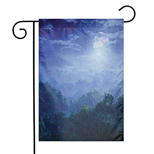 duommhome Fantasy Garden Flag Moonlight Covers The Jungles of Sri Lanka Hazy Rainforest Scenery View Image Premium Material W12 x L18 Green and Blue