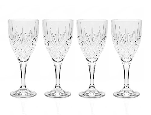 Godinger Silver Art Dublin Collection 9 Oz. Leaded Crystal Wine Goblets Glasses, Set of 6