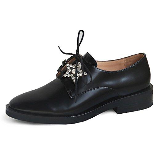 HXGL Versión Coreana de la Casual Retro con Zapatos Planos de Tacón bajo Zapatos Estrellas Zapatos Individuales Caballero Zapatos de Mujer (Tamaño : 35)