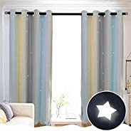 Hughapy Star Curtains Stars Blackout Curtains for Kids Girls Bedroom Living Room Colorful Double Layer Star Cut Out Stripe W
