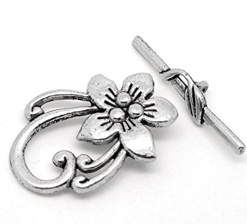 Housweety 10 Sets Silver Tone Flower Toggle Clasps 30mmx6mm (6mm Toggle Clasp Charm Bracelet)