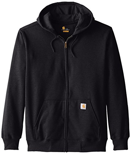 Carhartt Men's Big & Tall Rain Defender Paxton Heavyweight Hooded Zip Front Sweatshirt,Black,XX-Large - Sweatshirt Polyester 25%