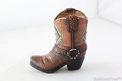 Mini Western Cowboy Cowgirl Turquoise Flower Boot Toothpick Pen Holder Vase Rustic Decoration]()