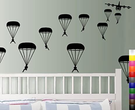 StikEez Black Military Paratroopers 12 Pack Wall Decals
