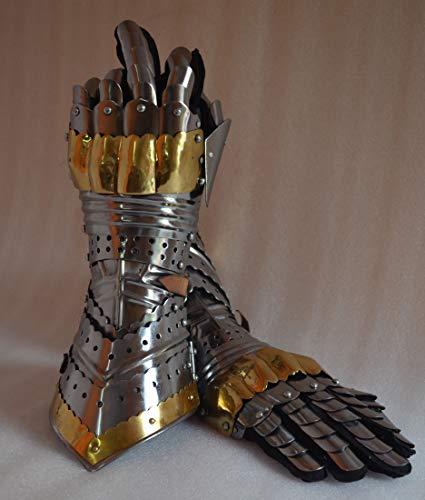 MIR Gauntlet Gloves Armor Pair w Brass Accents - Medieval Knight Crusader - Steel (Brass) -