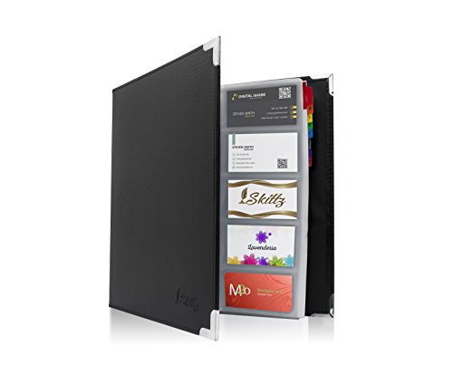 Skittz Business Card Book Coupon Leather Organizer Binder W/Sleeves 600 Storage ()