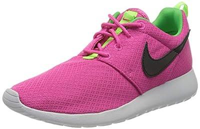 Nike Kids Rosherun (GS) Ht Pnk/Blk/Lt Grn Sprk/Pr Pltn Running Shoe