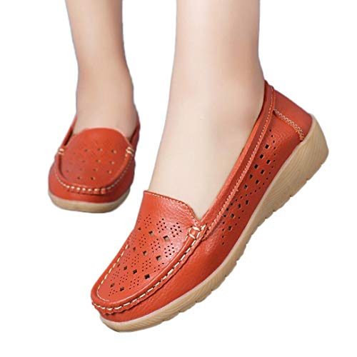 (vermers Women Casual Wedges Soft Bottom Outdoor Shoes Women Leisure Comfortable Slip On Peas Boat Shoes(US:8.5, Orange))