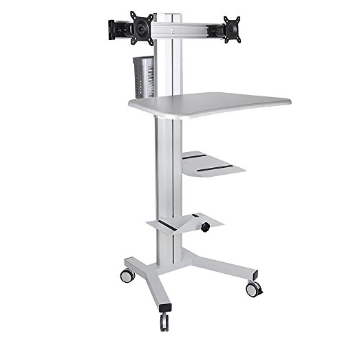 Aw Rolling Desktop Pc Mobile Cart For Dual Monitor 4 Wheel
