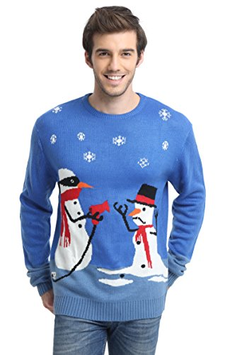 Daisysboutique Men's Holiday Reindeer Snowman Santa Snowflakes Sweater (Medium, Melt-u) ()