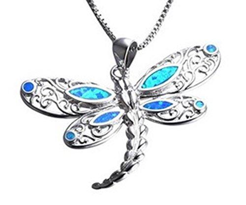 Fortonatori Created Blue Opal Dragonfly Necklace 925 Silver Pendant Necklace 18