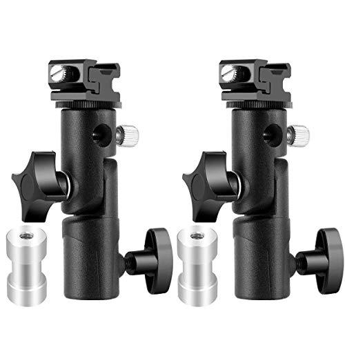 (Camera Flash Speedlite Mount, Professional Camera Swivel Light Stand Bracket Umbrella Holder Shoe Mount for Canon Nikon Pentax Olympus and Flashes, Studio Light, LED Light E Type (2 Pack))