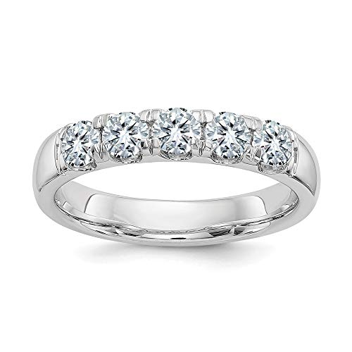 14k White Gold 1.50ct. 5 Stone Colorless Moissanite Wedding Ring Band Size 7.00 Light Db ?stone Fine Jewelry Gifts For Women For Her