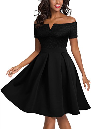 Miusol Women's Vintage Off Shoulder Short Sleeve Cocktail Party Swing Dress, Black, Small