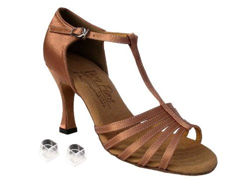 Dames Femmes Chaussures De Danse De Salon Très Fine Eks9273 Signature 3 Talon Avec Des Protecteurs De Talon Tan Satin