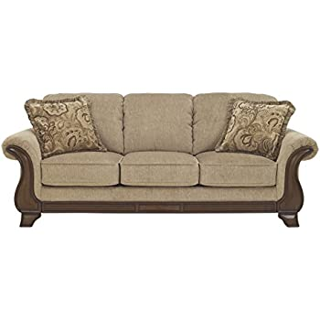 Ashley Furniture Signature Design   Lanett Sofa   3 Seat Traditional Couch  With Oversized Pillow Back   Barley