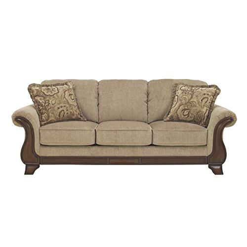Ashley Furniture Signature Design – Lanett Sofa – 3 Seat Traditional Couch with Oversized Pillow Back – Barley