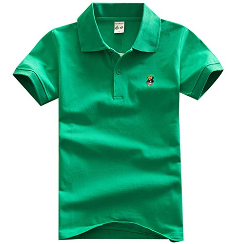 Baby Toddler Boys' Premium Cotton Short Sleeve Tee Lightweight Embroidery Polo Shirt (4-5 Years, Green)