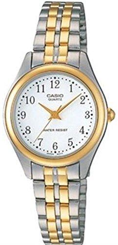 2 Tone White Dial (Casio Ltp-1129G-7Brdf Women's White Dial Two Tone Base Metal Watch)