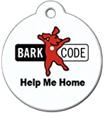 BARKCODE Help Me Home QR Code Pet ID Tag with Red Dog Logo, Large, Black/White