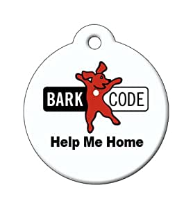 BARKCODE Help Me Home QR Code Pet ID Tag, Red Dog Logo, Black/White