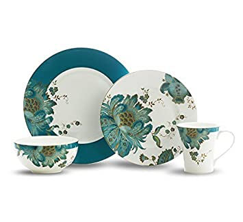Eliza Teal 16 Piece Dinnerware Set