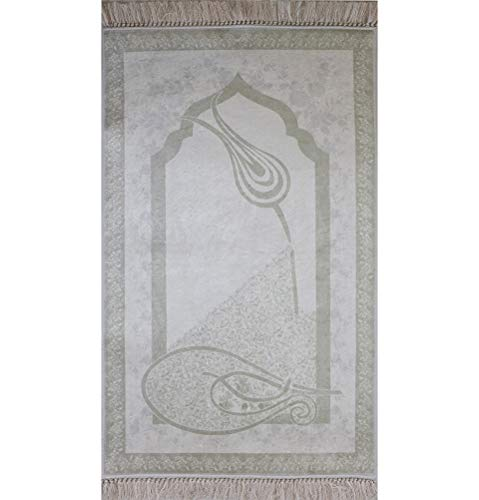 Islamic Prayer Rug - Janamaz Sajjadah Beautiful Carpet Ottoman Tulip Soft Foam White by Modefa