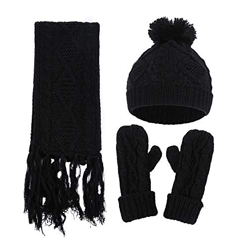 - Bolayu Women Crochet Hat Fur Woolen Knit Thick Cable Knitted Caps+Scarf+Gloves Suit (Black)