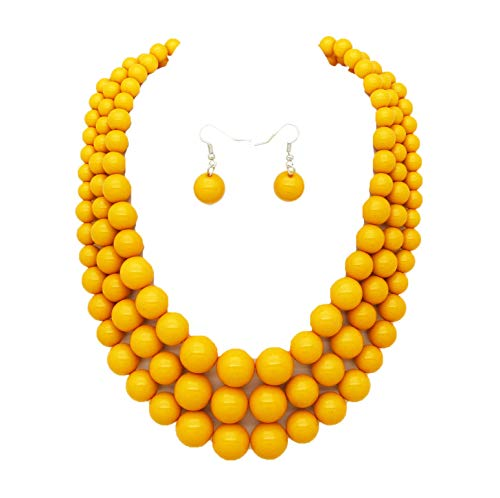 Women's Simulated Faux Three Multi-Strand Pearl Statement Necklace and Earrings Set (Yellow)