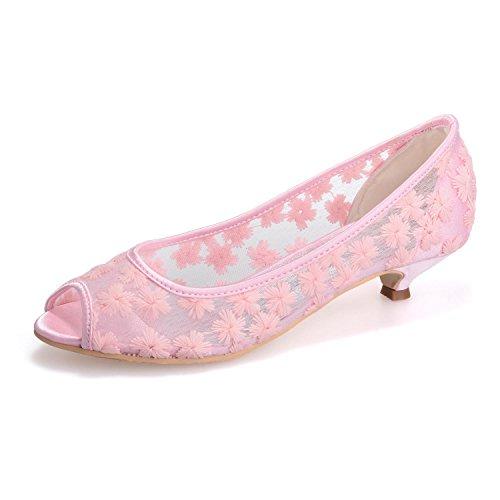 Sandali Tacco Toe Sera Pizzo Da Sposa Con L E Pink yc 0700 Seta Chiusura Alto Donna In 12 Comfort S6Tta8q