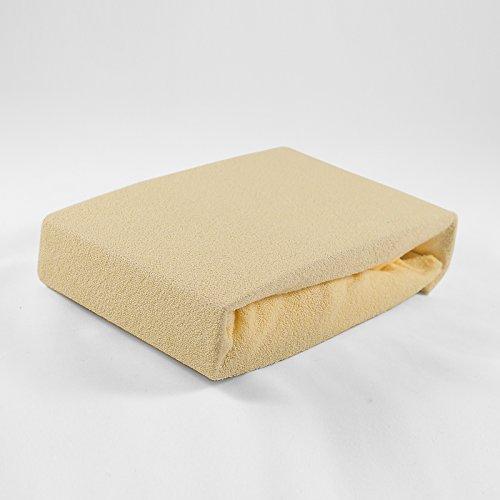 Frottee Spannbettlaken 70 x 140 cm gelb Laken Bettlaken Babybett Spannbetttuch Betttuch