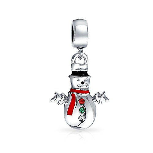 Christmas Snowman Holiday Dangle Charm Bead For Women For Teen 925 Sterling Silver Fits European Bracelet