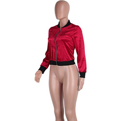 ESAILQ Invierno nueva mujer Moda Casual Chaqueta de terciopelo abrigo de manga larga manga larga Vino rojo