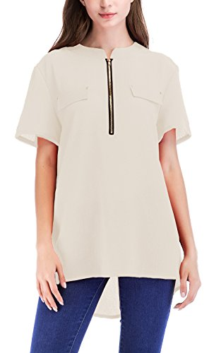 Manica Donna Sciolto Irregolare Casual Albicocca Corta Moda Tops Shirts Estivi Onlyoustyle Chiffon Bluse Camicie Blouse aA1qwxat5