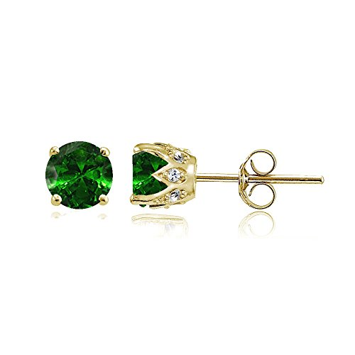 Yellow Gold Flashed Sterling Silver Simulated Emerald and Cubic Zirconia Accents Crown Stud ()
