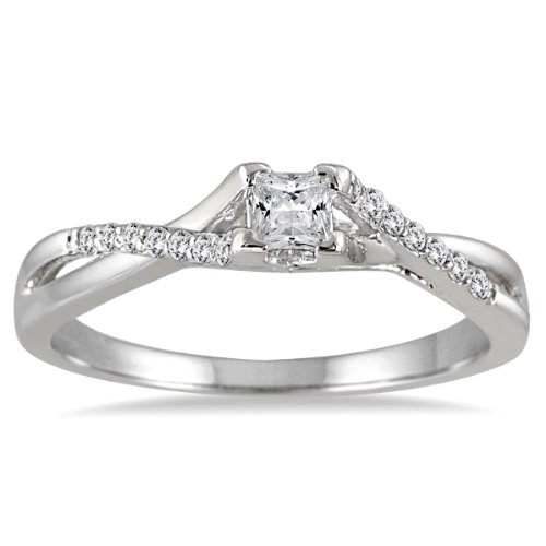 1/3 Ct Tw Ring - AGS Certified 1/3 Carat TW Princess Cut Diamond Engagement Ring in 10K White Gold (K-L Color, I2-I3 Clarity)