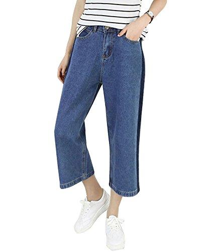 ZongSenA Femme Capri Jeans Pantalon Large Grandes Tailles Pantalons Droit Pantacourt Bleu