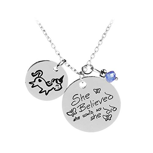 Myhouse Unicorn Lettering She Believed She Could So She Did Necklace Chain Womens Charm Accessories