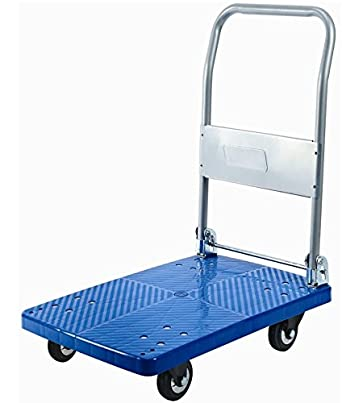 Bigapple WH-1 Preminum Quality Single Platform Trolley Completely Foldable, 300kg Capacity, Highly Durable (Blue)