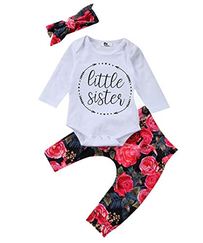 Baby Girls Little Sister Bodysuit Tops Floral Pants Bowknot Headband Outfits Set (0-6 Months, Style 1)]()